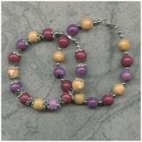 2 three-color flower petal bead bracelet with bead caps