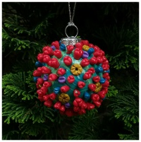 3 inch christmas tree ornament of a model of the coronavirus SARS Cov 2 covid 19 virus particle