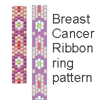 free peyote stitch breast cancer ribbon ring pattern