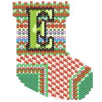 christmas beaded stocking ornament letter e