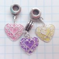 filigree custom memorial heart charms flower petals