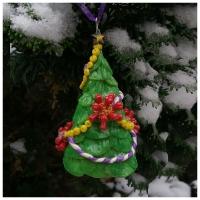 christmas tree cone shape with coronavirus tiny ornaments