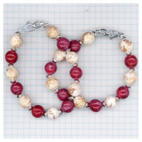 2 Memory bracelets made with red and white rose petals